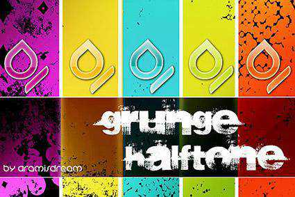 Halftone grunge distressed free photoshop brush pack set adobe