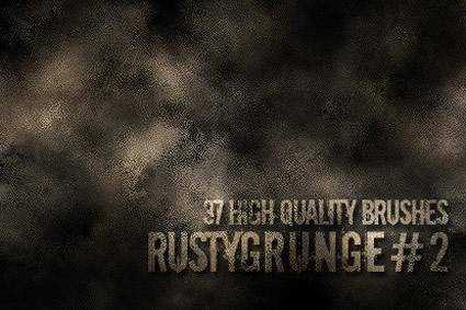Rusty grunge distressed free photoshop brush pack set adobe
