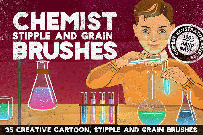 Chemist grunge distressed photoshop brush pack set adobe