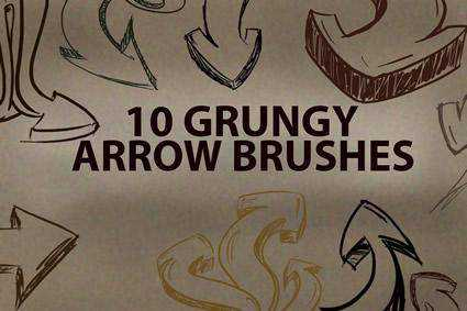 Arrow grunge distressed free photoshop brush pack set adobe