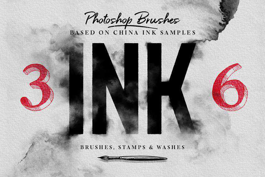 Ink grunge distressed photoshop brush pack set adobe