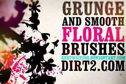 Floral grunge distressed free photoshop brush pack set adobe