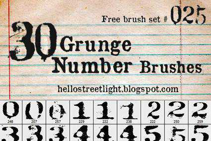 Numbers ps grunge distressed free photoshop brush pack set adobe