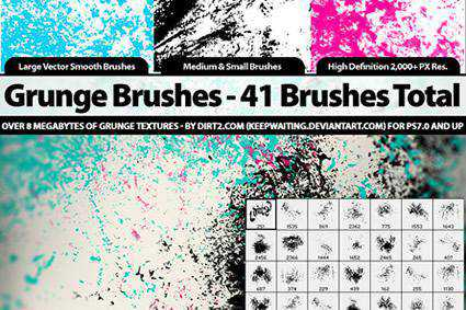 grunge distressed free photoshop brush pack set adobe