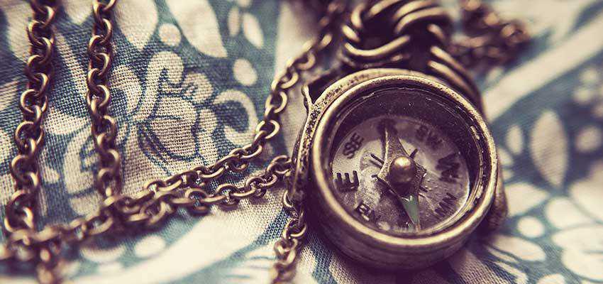 A vintage compass.