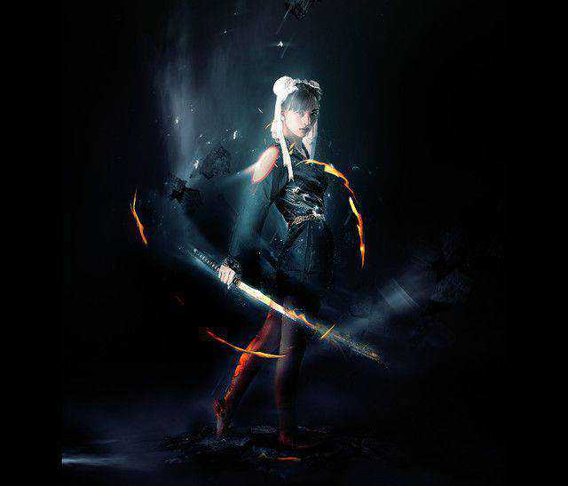 Abstract Style Sword Warrior with Fiery Effect tutorial in Photoshop