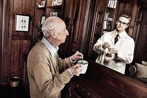 photograph of old man looking in mirror and seeing reflection of his younger self as a chemist