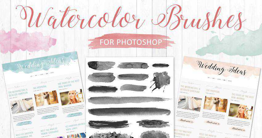 Watercolor soft subtle textured photoshop brush pack set adobe