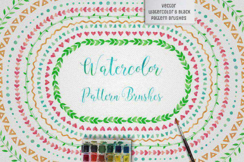 Watercolor Black Pattern Brushes