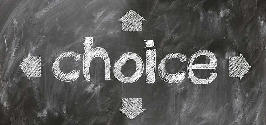 "A chalkboard with ""Choice"" written on it."