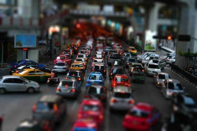 tilt-shift photography miniature Tilt shift rush hour
