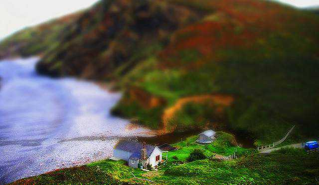 tilt-shift photography miniature Millook beach, Cornwall tilt-shift