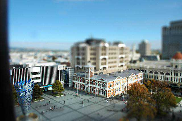 tilt-shift photography miniature Christchurch tilt-shift experiment