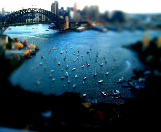 tilt-shift photography miniature Looking down on Sydney Harbour