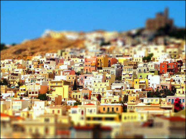 tilt-shift photography miniature Ermoupolis Village: Syros, Greece