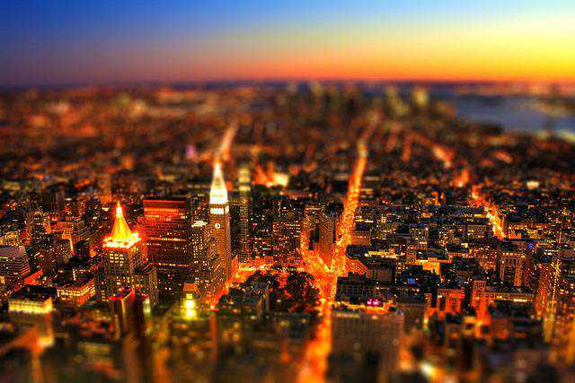 tilt-shift photography miniature New York City USA - South Manhatten Tiltshift by Night