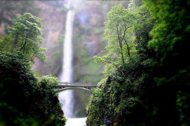 tilt-shift photography miniature Mini multnomah falls