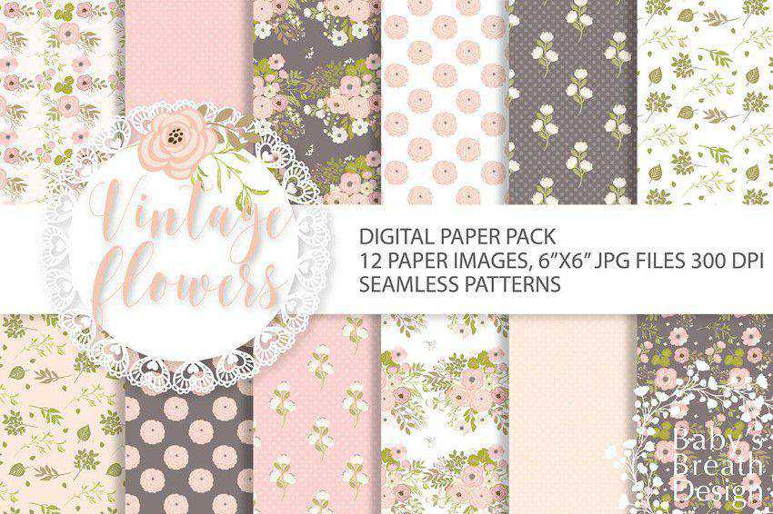 Vintage flower digital paper pack