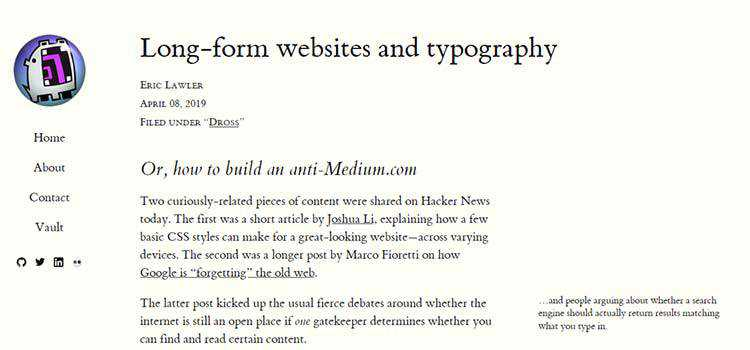 Long-form websites and typography