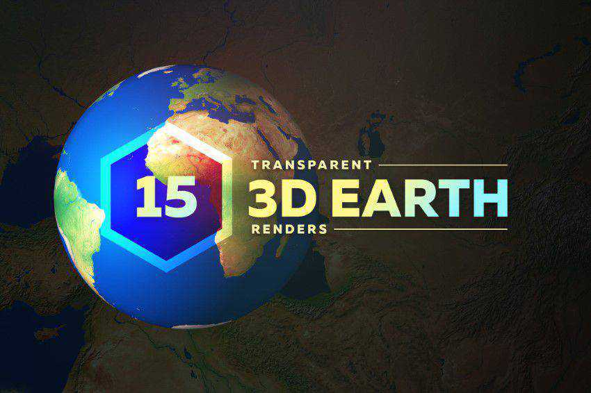 3D Earth Render Without Clouds