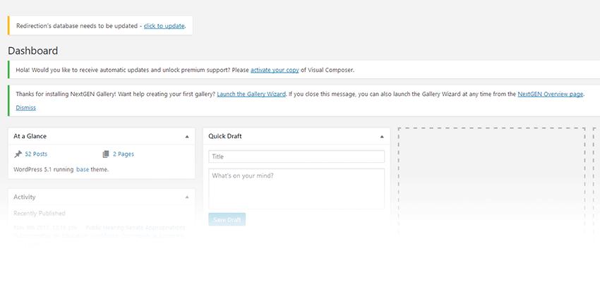 WordPress dashboard notification messages.