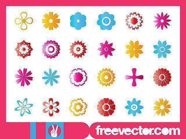 Flower Blossoms Icon Set fresh best free vector packs kits