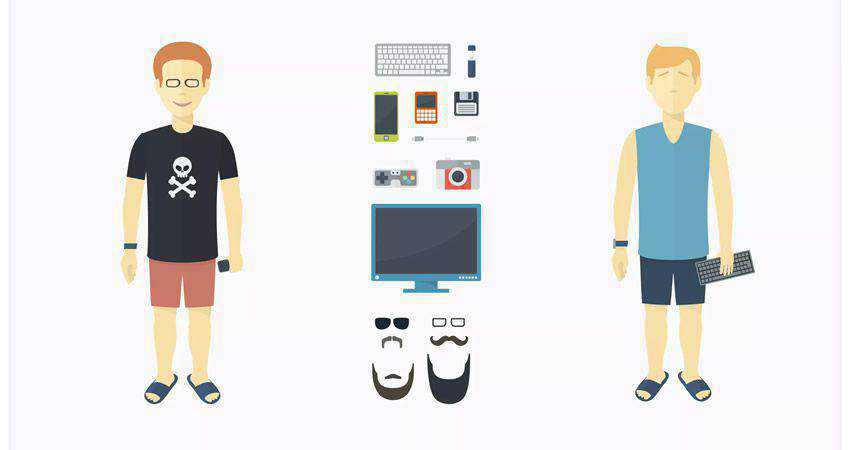 Geek Character Set adobe illustrator tutorial