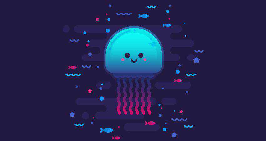 How to Draw a Cute Glowing Jellyfish adobe illustrator tutorial
