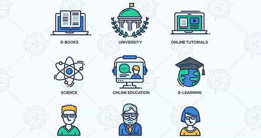 School Education Line Icon Set adobe illustrator