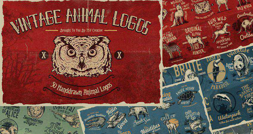 50 Vintage Animal Logo Badges adobe illustrator tutorial