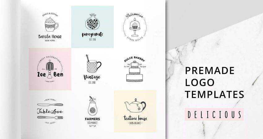 Delicious Premade Logo Set adobe illustrator tutorial