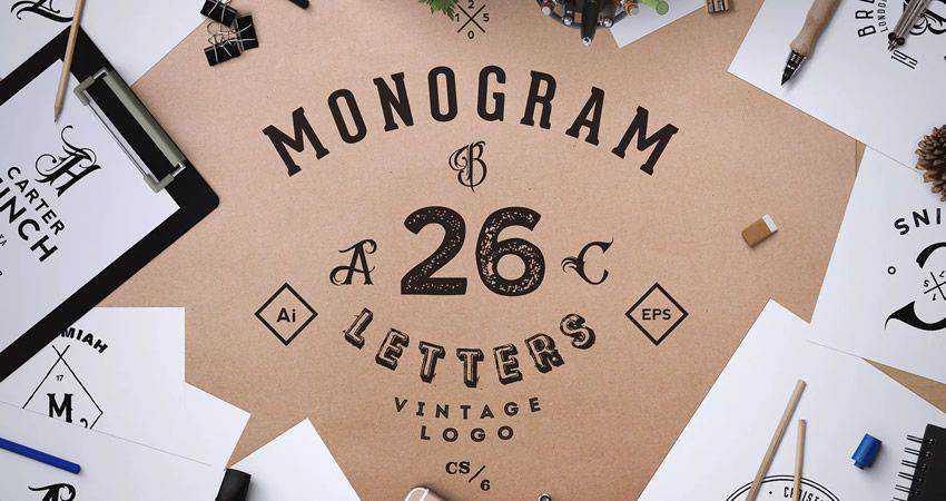 Monogram ABC Vintage Logos