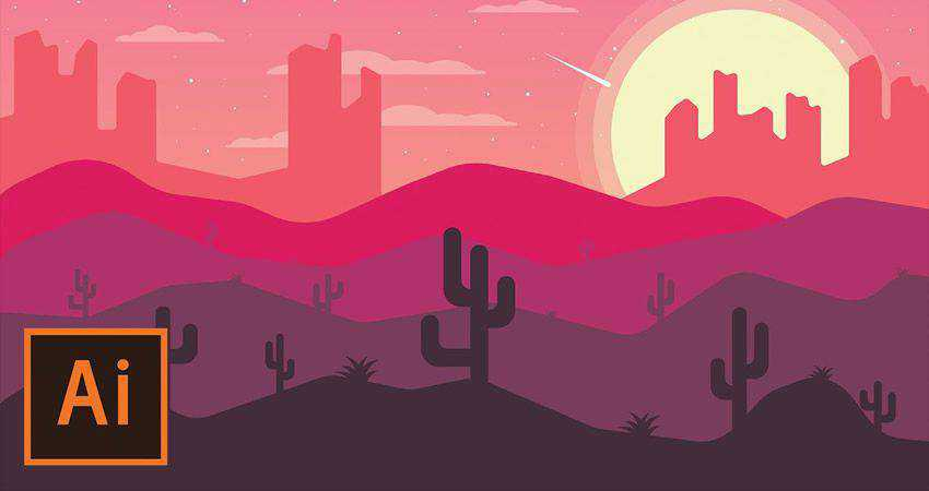 How to Create a Desert Landscape Flat Design Poster adobe illustrator tutorial