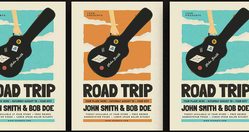 Road Trip Gigs Event Flyer adobe illustrator tutorial