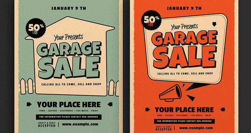 Retro Text Garage Sale Event Flyer adobe illustrator tutorial