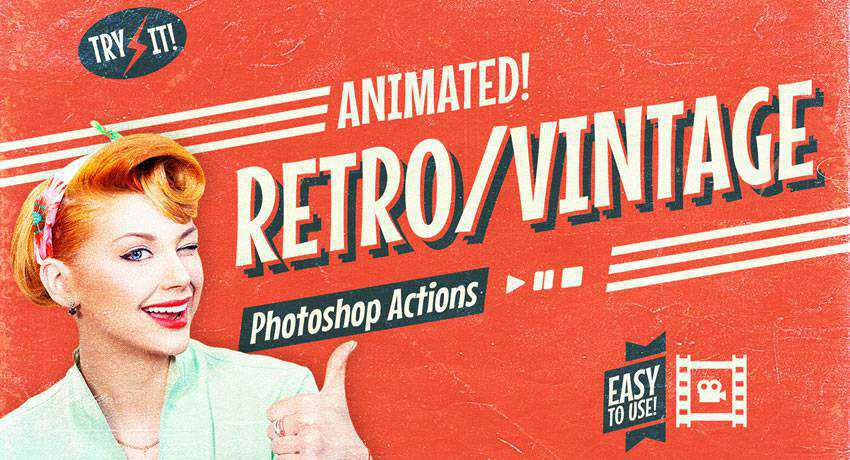 Animated Retro Vintage Film effects photo free photoshop actions
