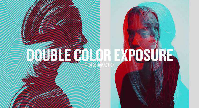 Double Color Exposure effects free photoshop actions