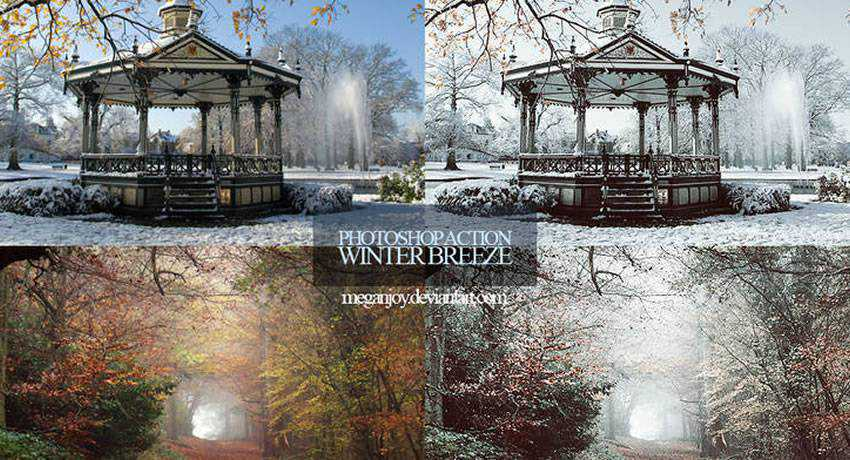 Winter Breeze cold blue color effects photo free photoshop actions
