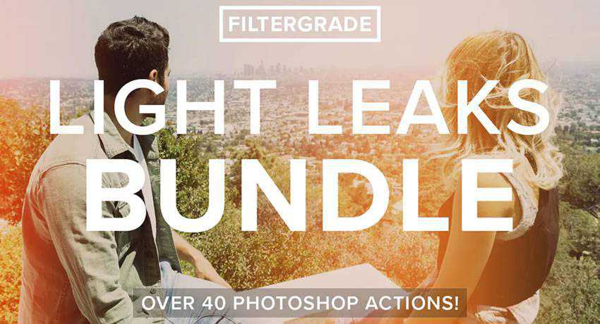 bundle light leak effects photo free photoshop actions