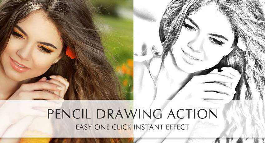 Pencil Drawing sketch effects photo free photoshop actions