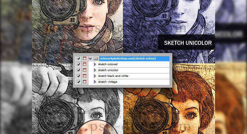 sketch effects photo free photoshop actions