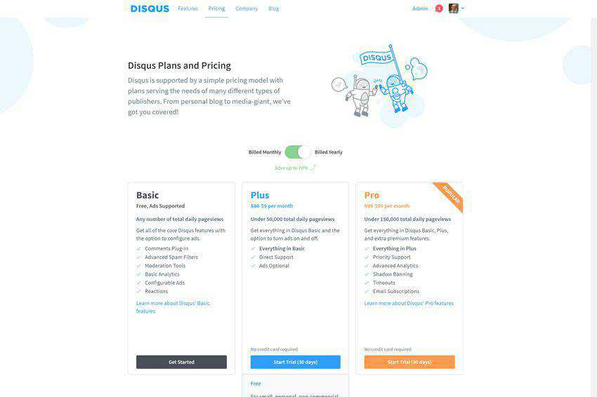 Disqus Pricing Page Web Design Inspiration