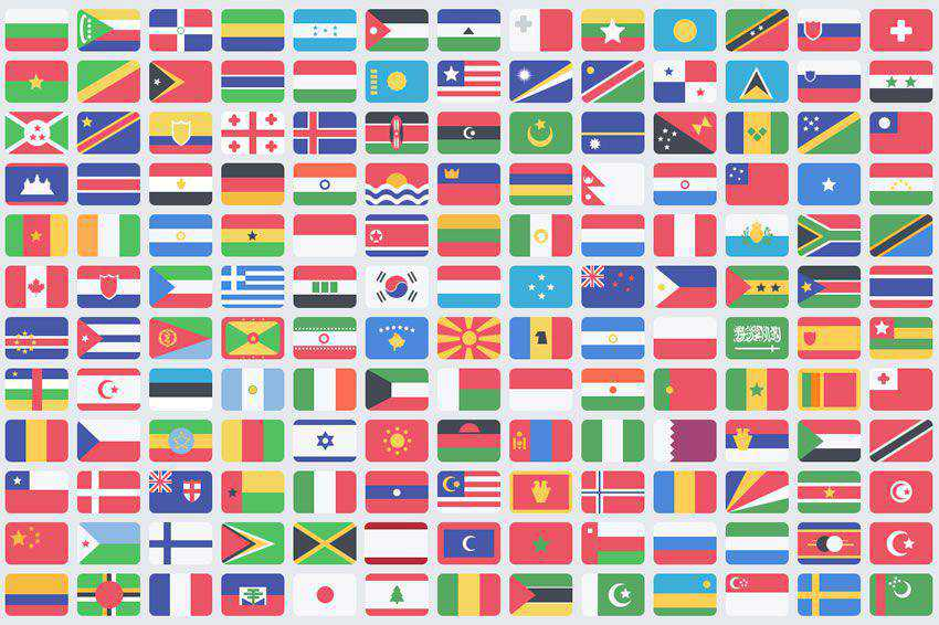 195 Flat Flags free icon set banner nation country psd png