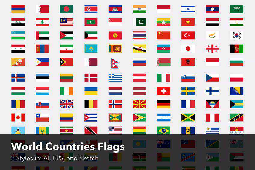 World Countries Flags icon set banner nation country eps Sketch ai