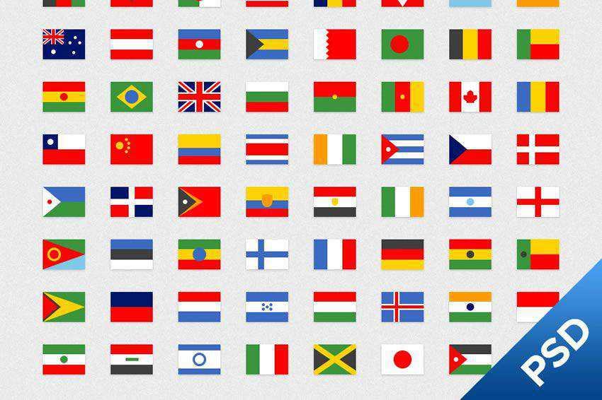 64 Simple Flags Icons free icon set banner nation country psd