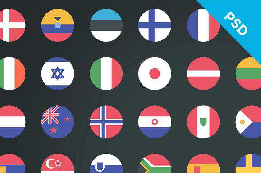 58 Country Flag Icons free icon set banner nation psd