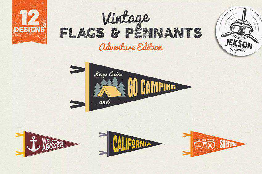 Adventure Pennants & Vintage Flags banner nation country psd eps svg ai