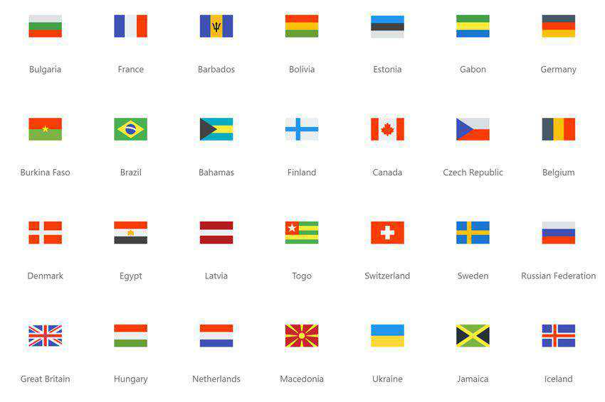 Flags Icon Pack free set banner nation country free png