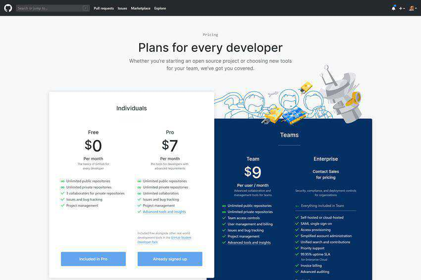 Github Pricing Page Web Design Inspiration