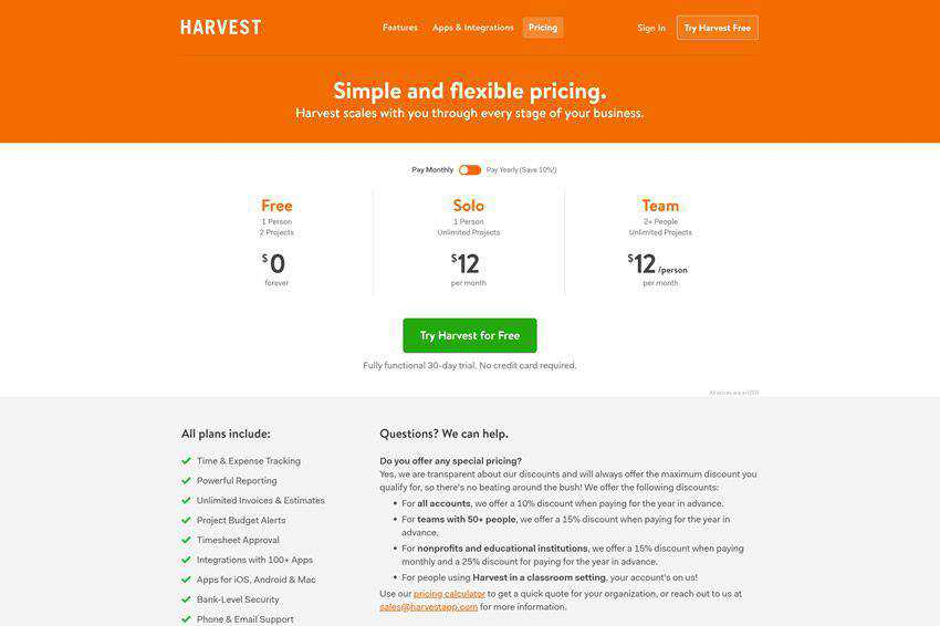 Harvest Pricing Page Web Design Inspiration
